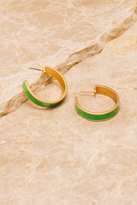 lime green enamel hoop earrings