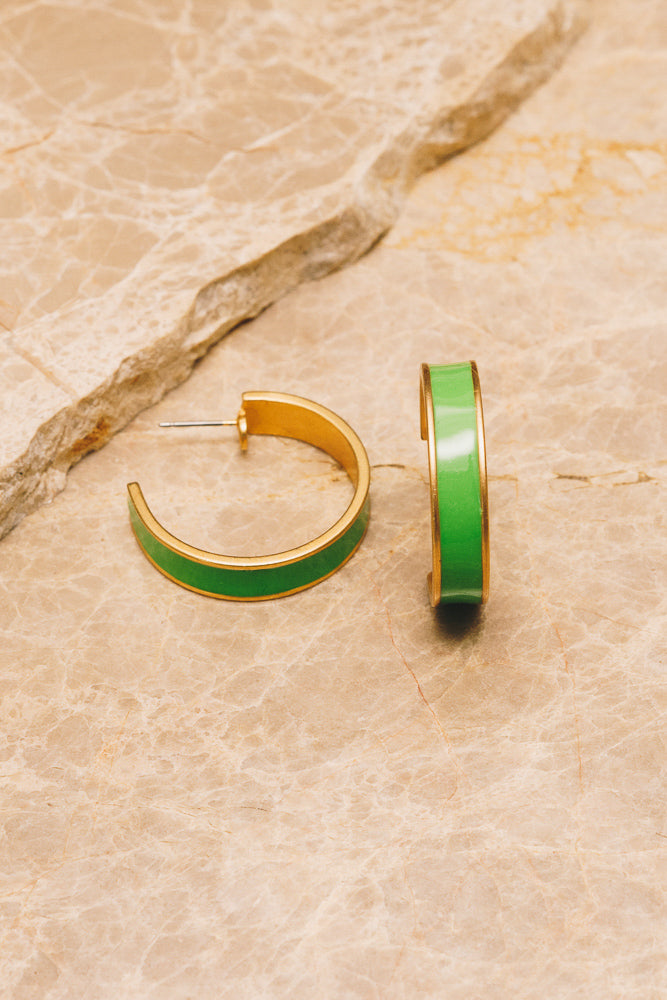 lime green enamel hoop earrings side view