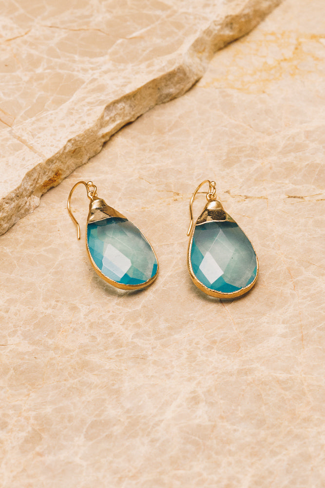 blue quartz gemstone teardrop earrings