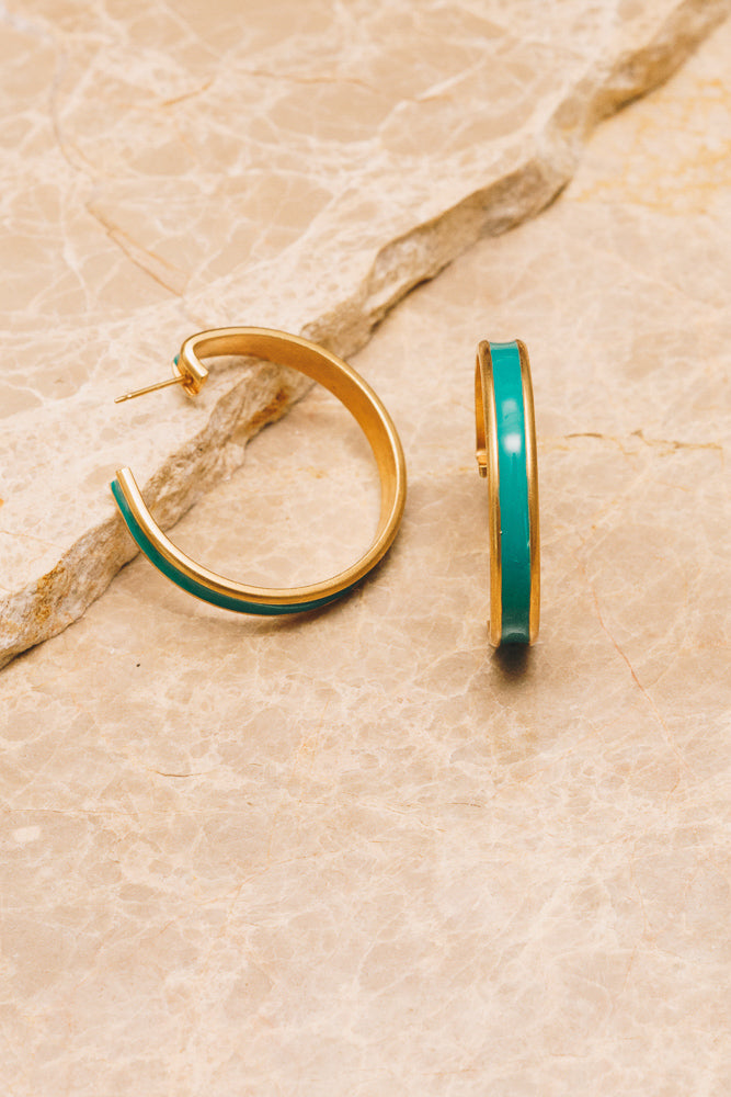turquoise enamel hoop earrings