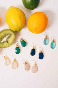 gemstone teardrop earrings blues and greens