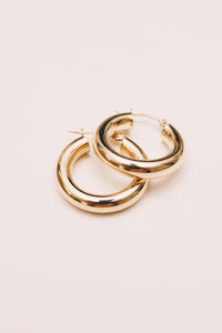 14k gold hollow hoop earrings