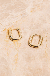 gold rectangular huggie hoops