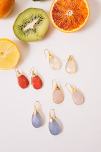 gemstone teardrop earrings pastel colors
