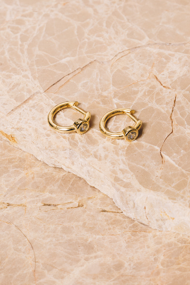 gold and crystal huggie hoop earrings