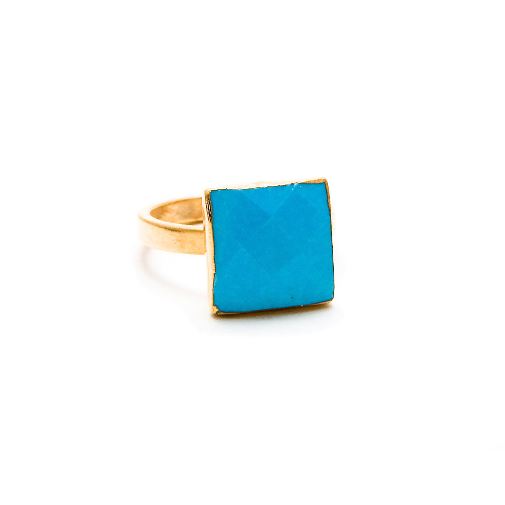 turquoise square stacking ring