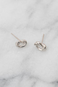 silver Gordian knot stud earrings
