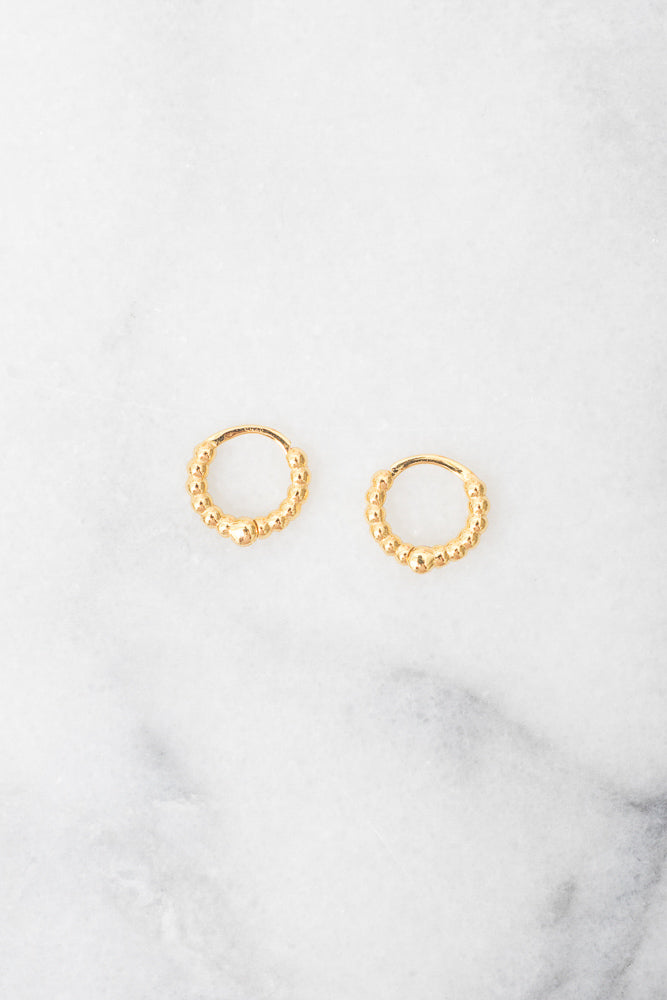 gold beaded huggie hoops
