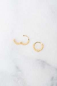 gold beaded huggie hoop earrings open hinge