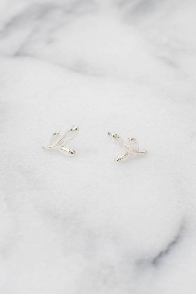 silver leaf branch earrings