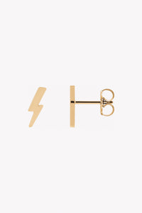 tiny lightning bolt stud earrings 14K yellow gold