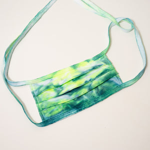 teal and neon green tie dye reusable adjustable face masks