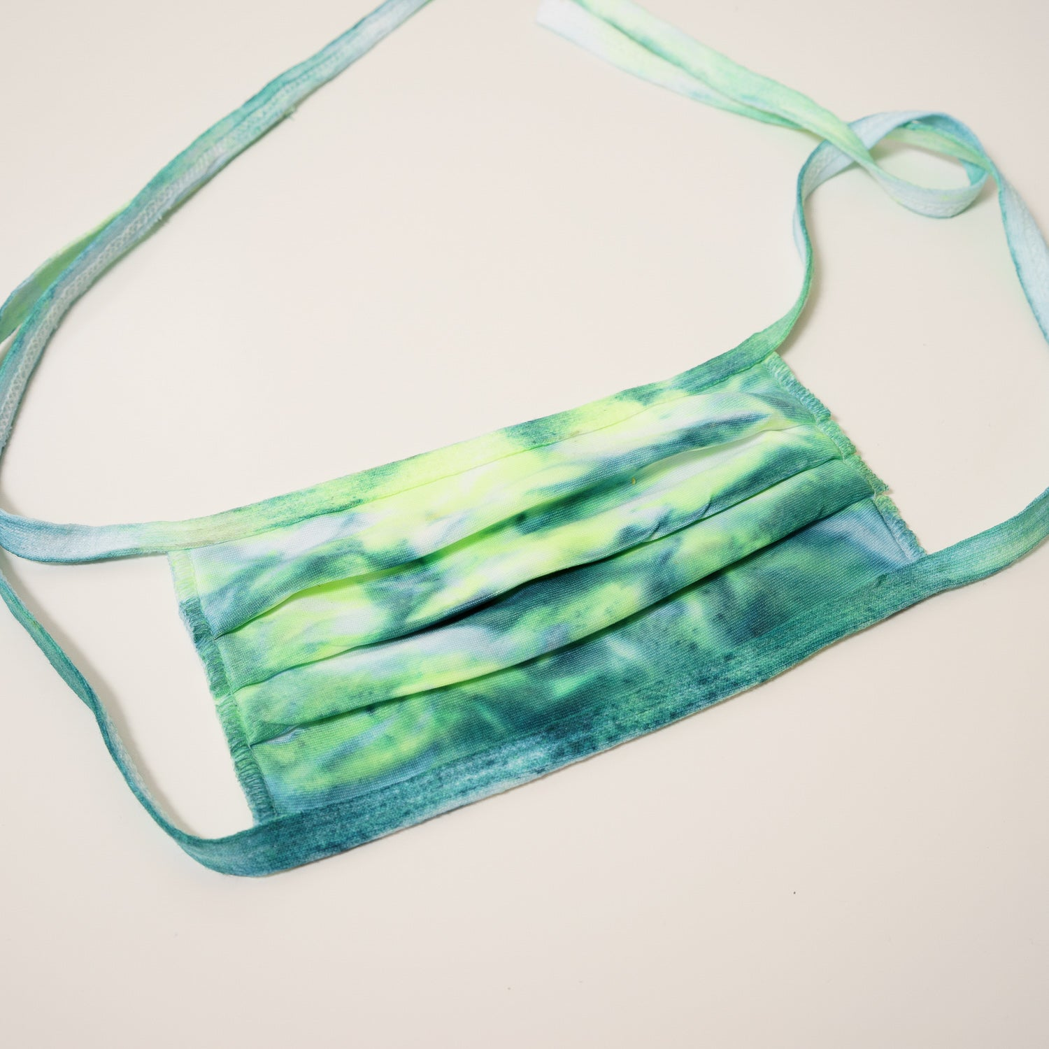 teal and neon green tie dye reusable adjustable face mask