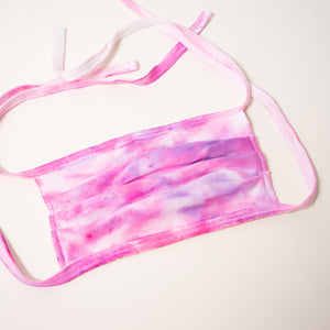 pink purple tie dye handmade face mask adjustable