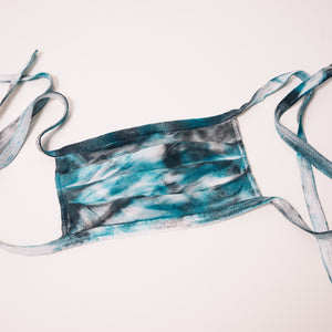 teal and black tie dye reusable adjustable face mask