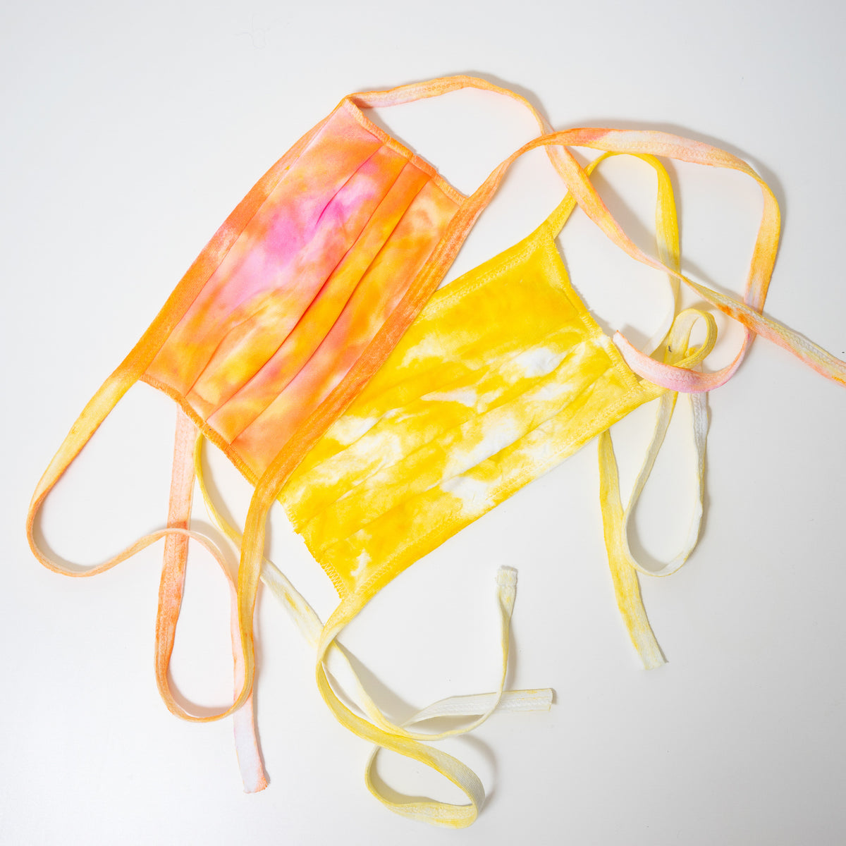 orange and yellow tie dye reusable adjustable face masks