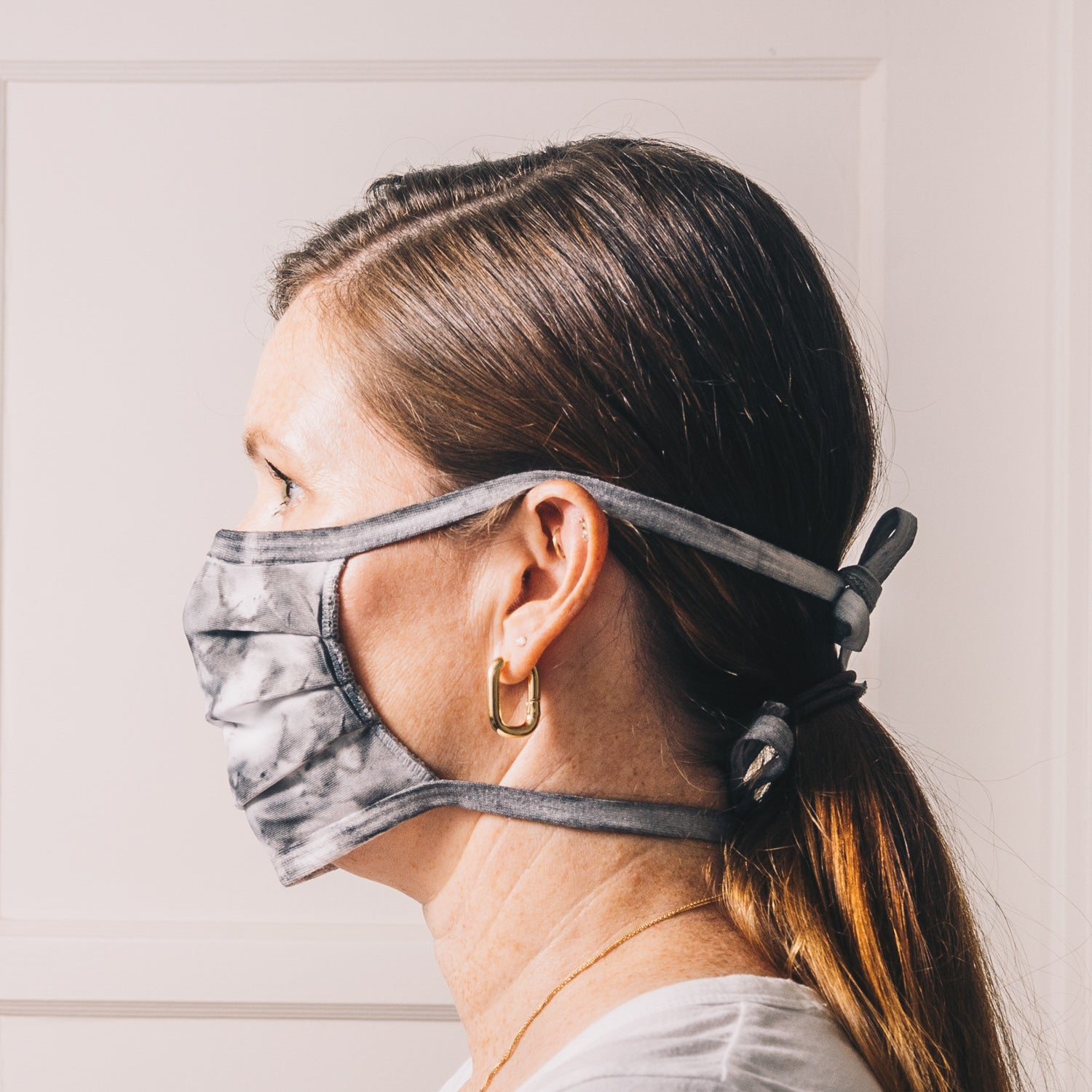 Reusable Adult and Child Triple Layer Mask | Black Tie Dye | Adjustable | Janna Conner