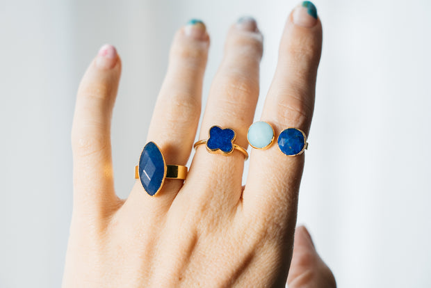 blue lapis rings on hand