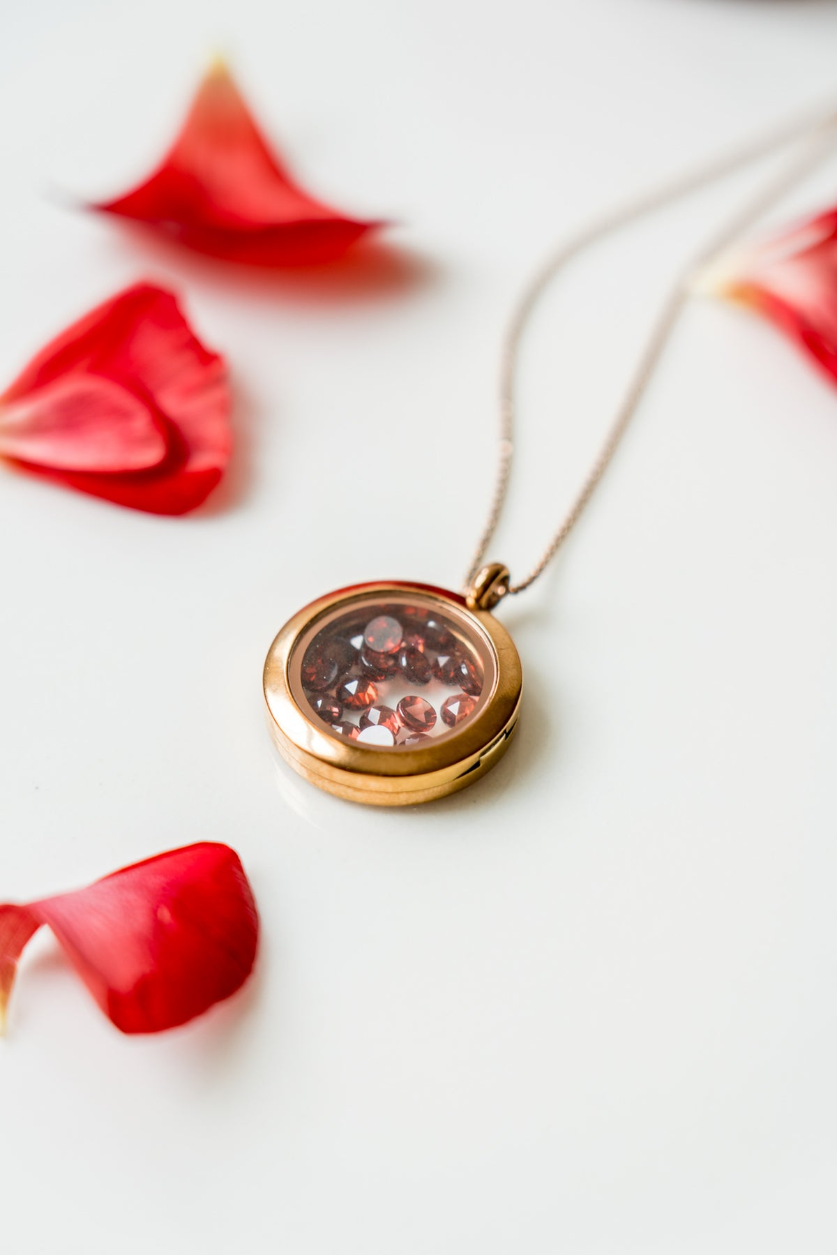 Berget | Rose Cut Garnet Locket Necklace | Janna Conner | January Birthstone