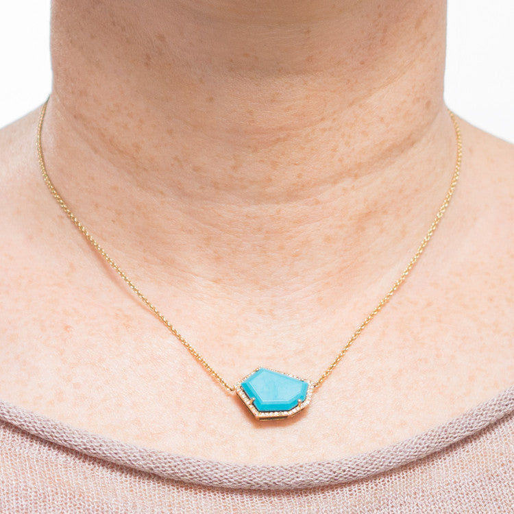 Cubist Turquoise Necklace | 14K Gold | Janna Conner