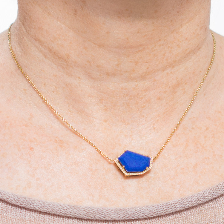 Cubist Necklace | Lapis and Diamond Pavé | 14K Gold | Janna Conner | Sale