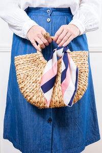 striped pink navy white scarf tied on straw raffia handbag janna conner