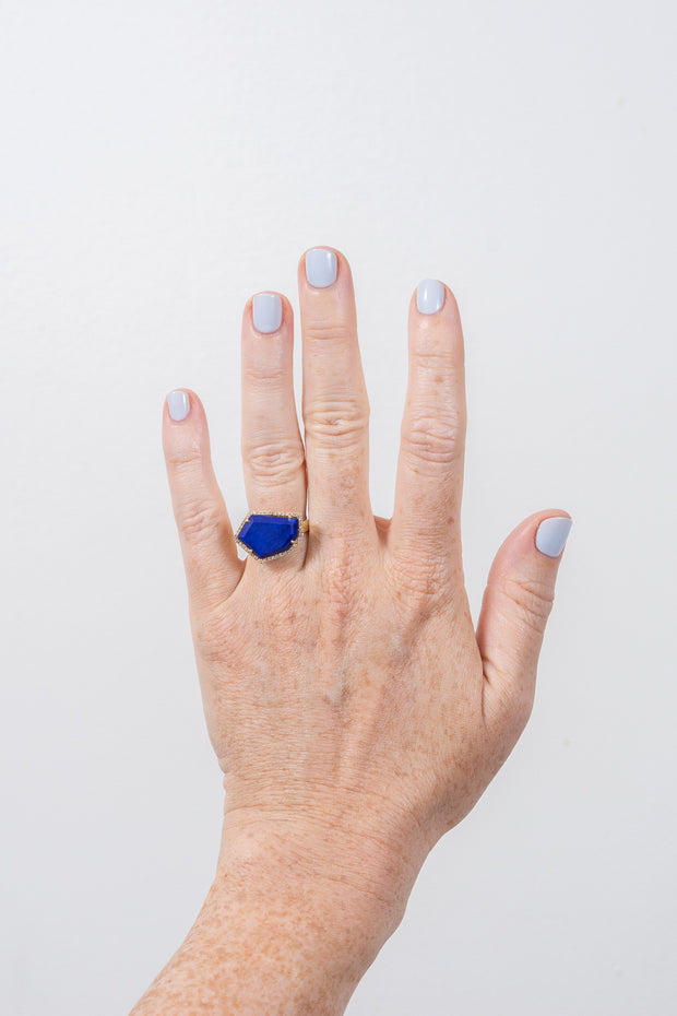 lapis and diamond cocktail ring on hand model by Janna Conner