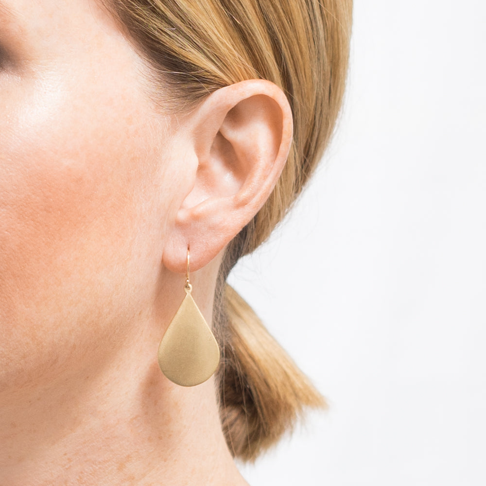 JCE1035 14K Gold Matte Brushed Teardrop Earrings | Janna Conner