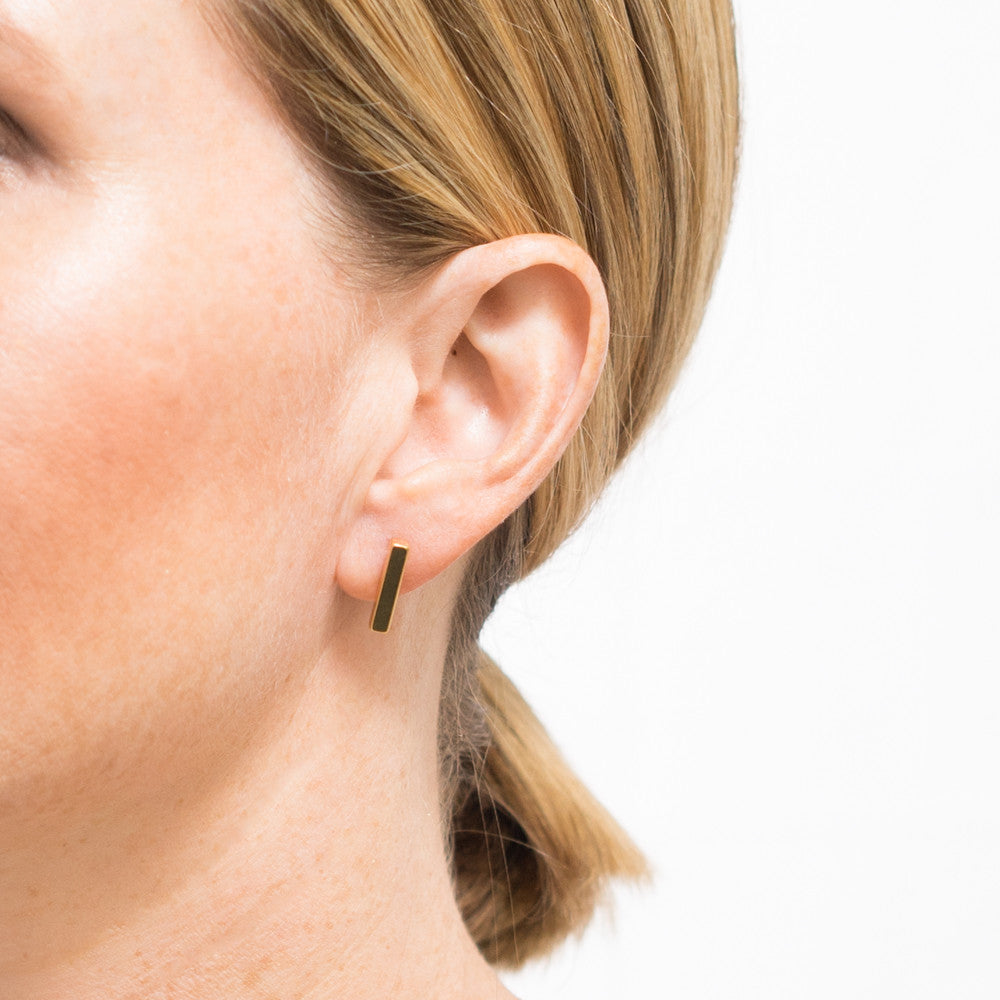 Sumi Bar Studs | 18k Gold Plating | Janna Conner