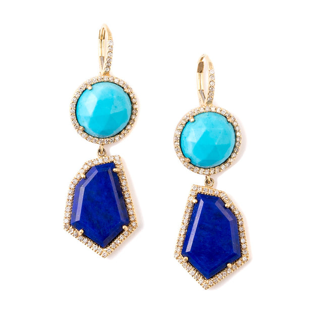 Lapis and Turquoise Cubist Drop Earrings | 14K Gold | Janna Conner