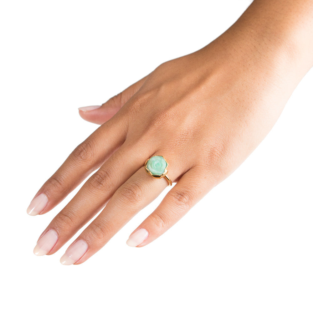chrysoprase rosette flower stacking ring on hand