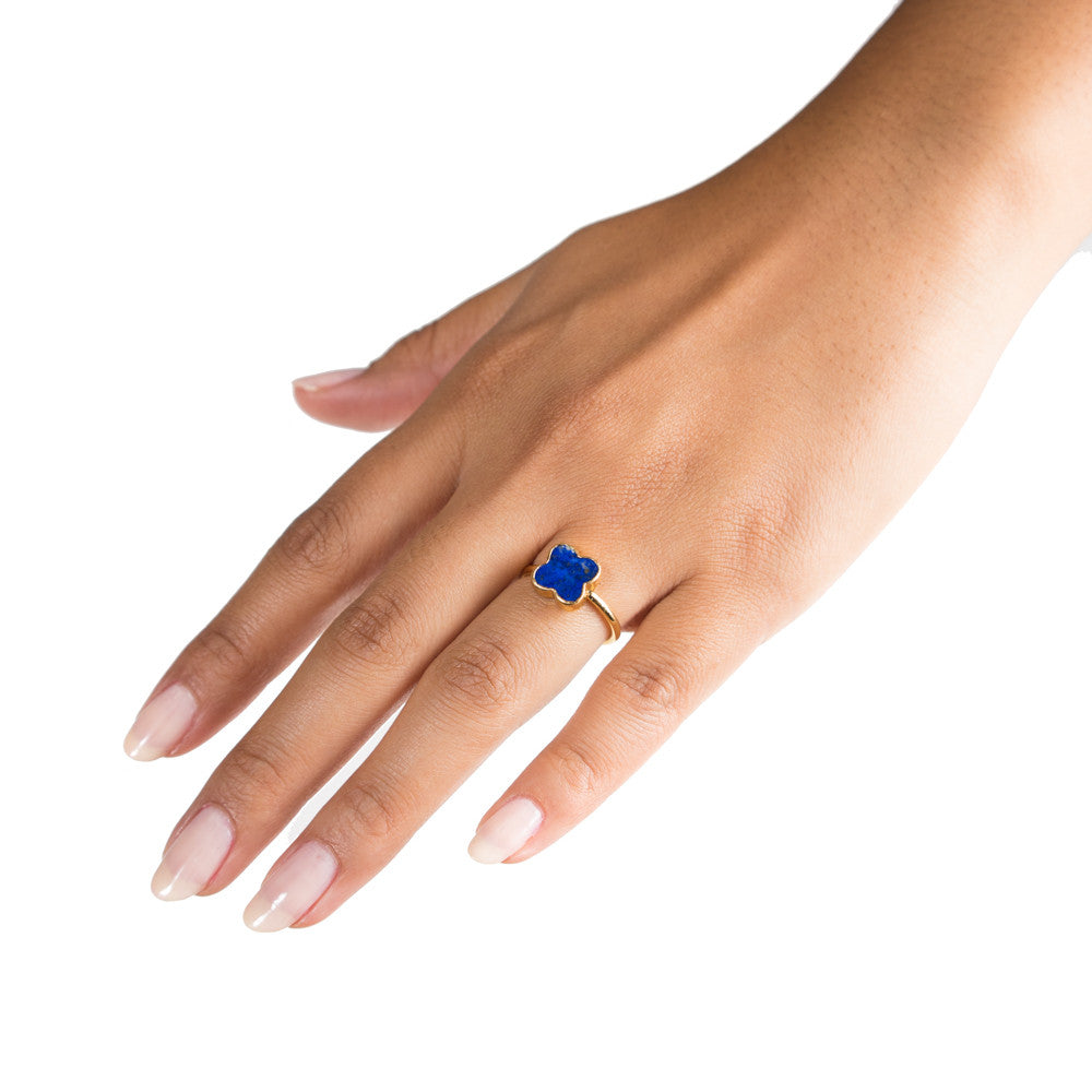 lapis clover stacking ring on hand
