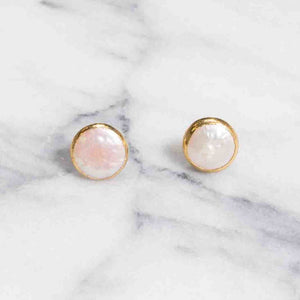 Freshwater Pearl Coin Studs | 18k Gold Plating | Janna Conner
