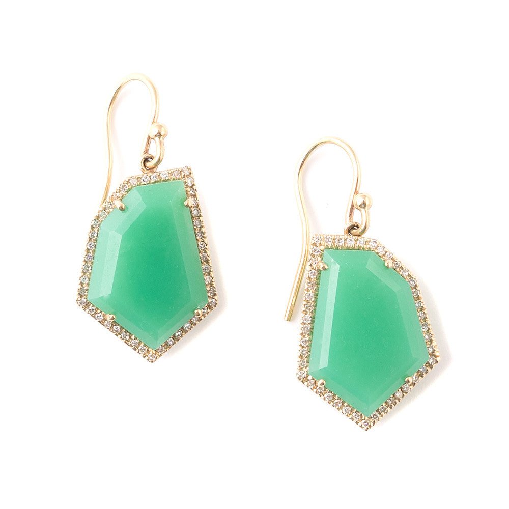 chrysoprase and diamond pave gold earrings Janna Conner