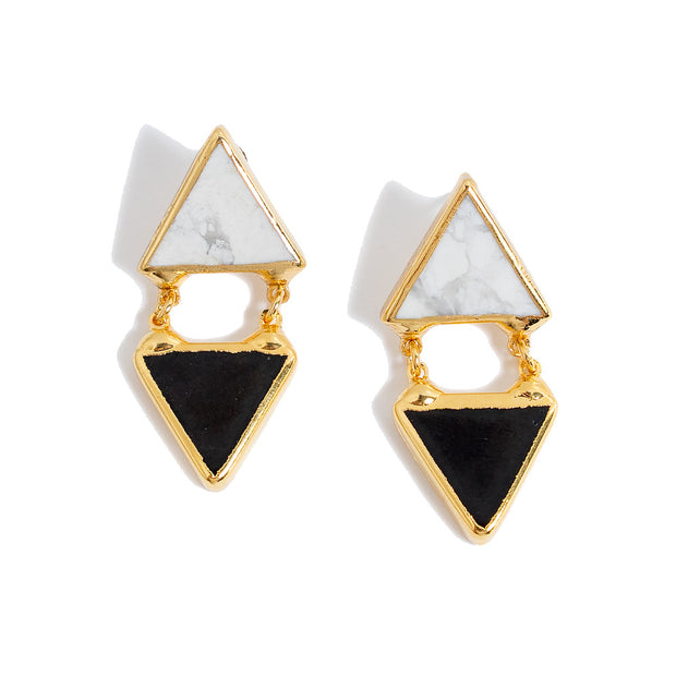 Twia Triangle Earrings | Howlite/Onyx | 18k Gold Plating | Janna Conner