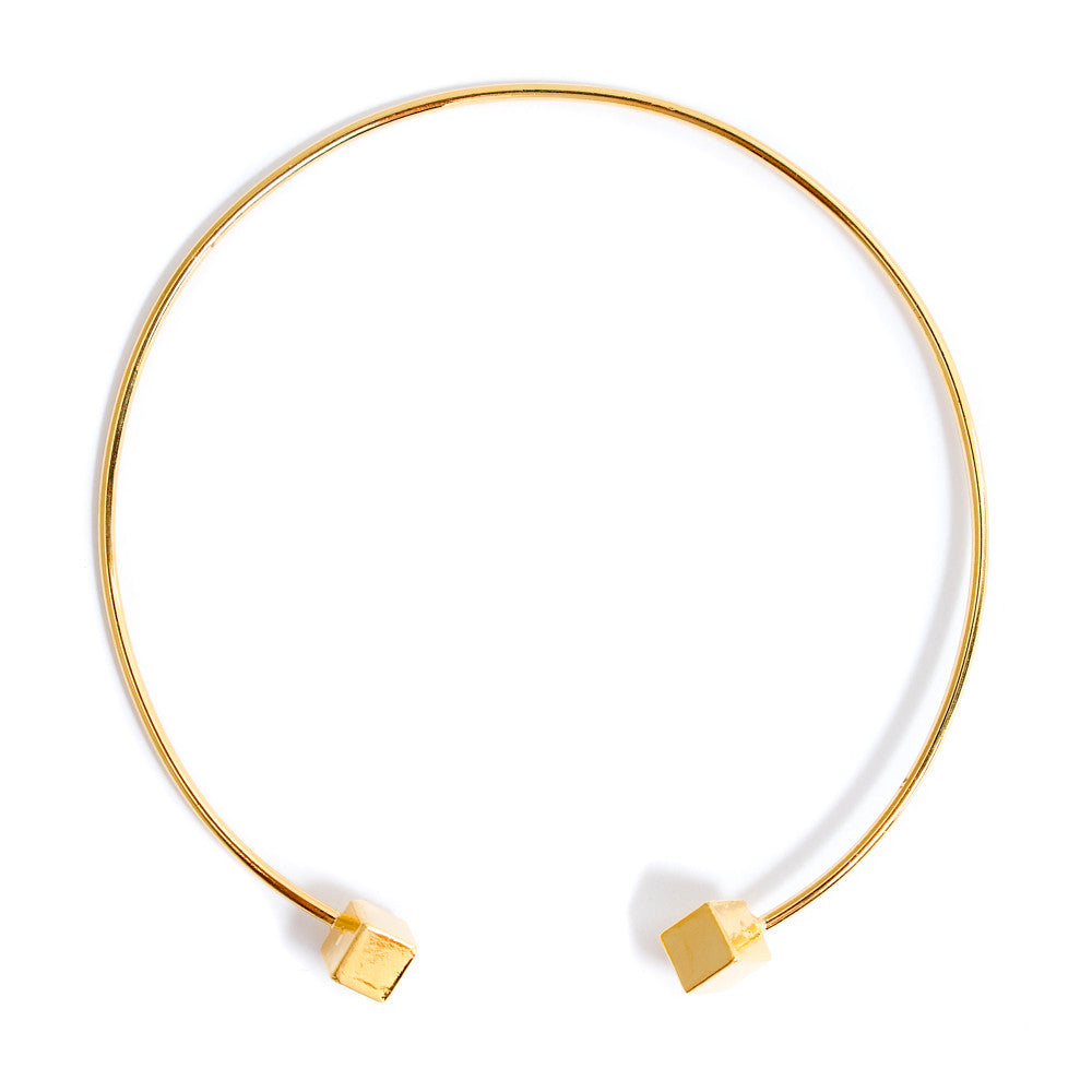 Sheila Gold Cube Choker Necklace | 18k Gold Plating | Janna Conner | Sale