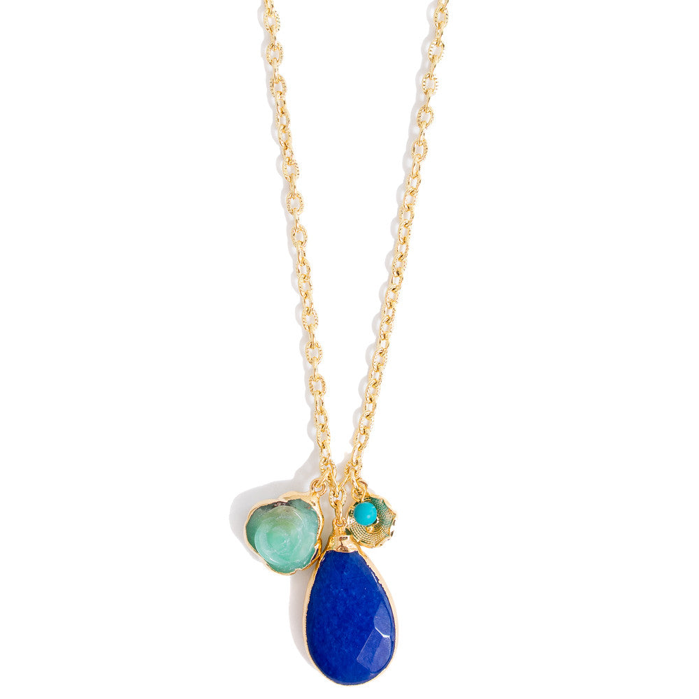6328N Thora Necklace Chrysoprase and Cobalt Jade