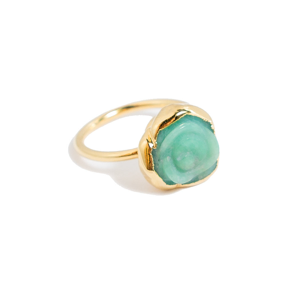 chrysoprase rosette stacking ring