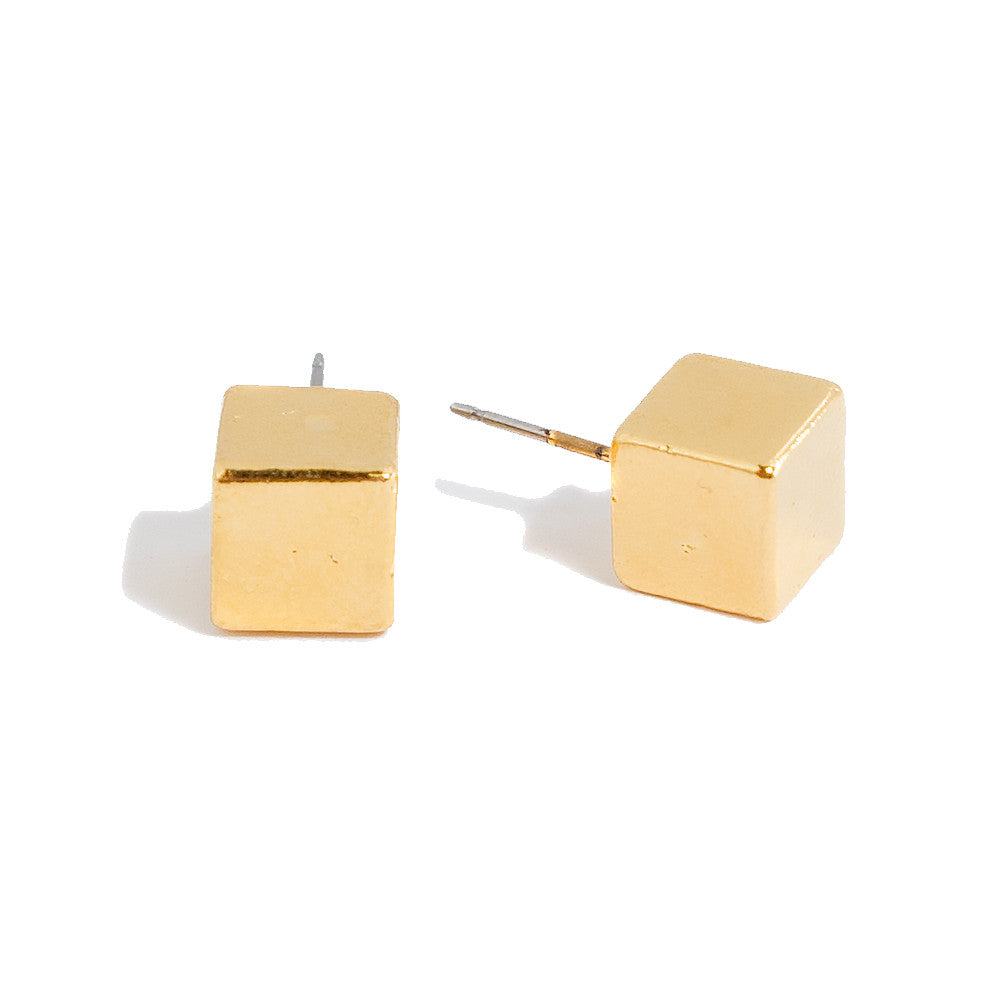 Sherry Cube Stud Earrings | 18k Gold Plating | Janna Conner | Sale