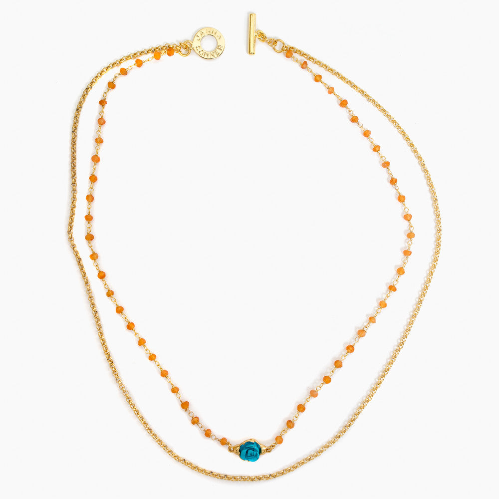 6282 Selda Necklace in Carnelian/TQ