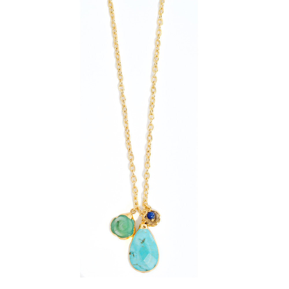 6328 Thora Necklace in Chrysoprase and Turquoise