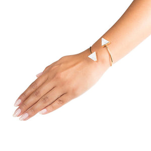 white howlite triangle cuff bracelet on model