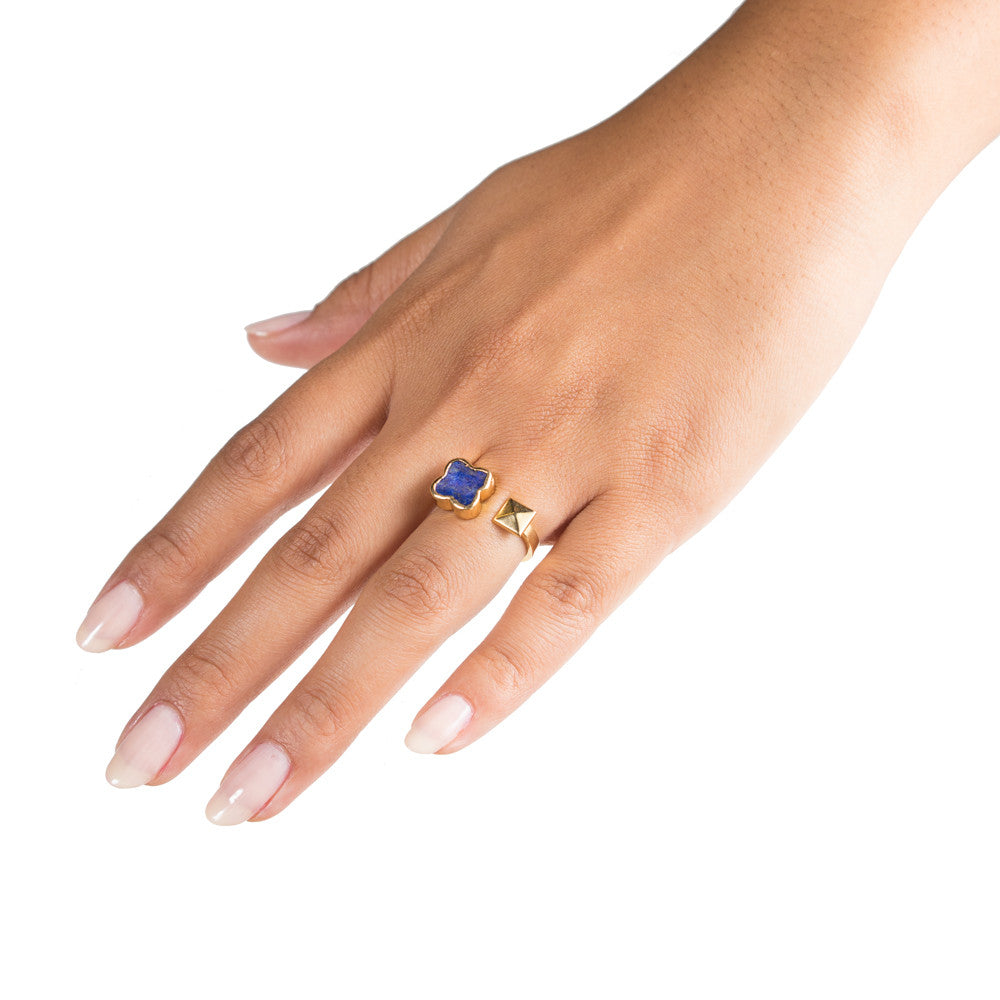 lapis clover gold pyramid open stacking ring on model hand by janna conner