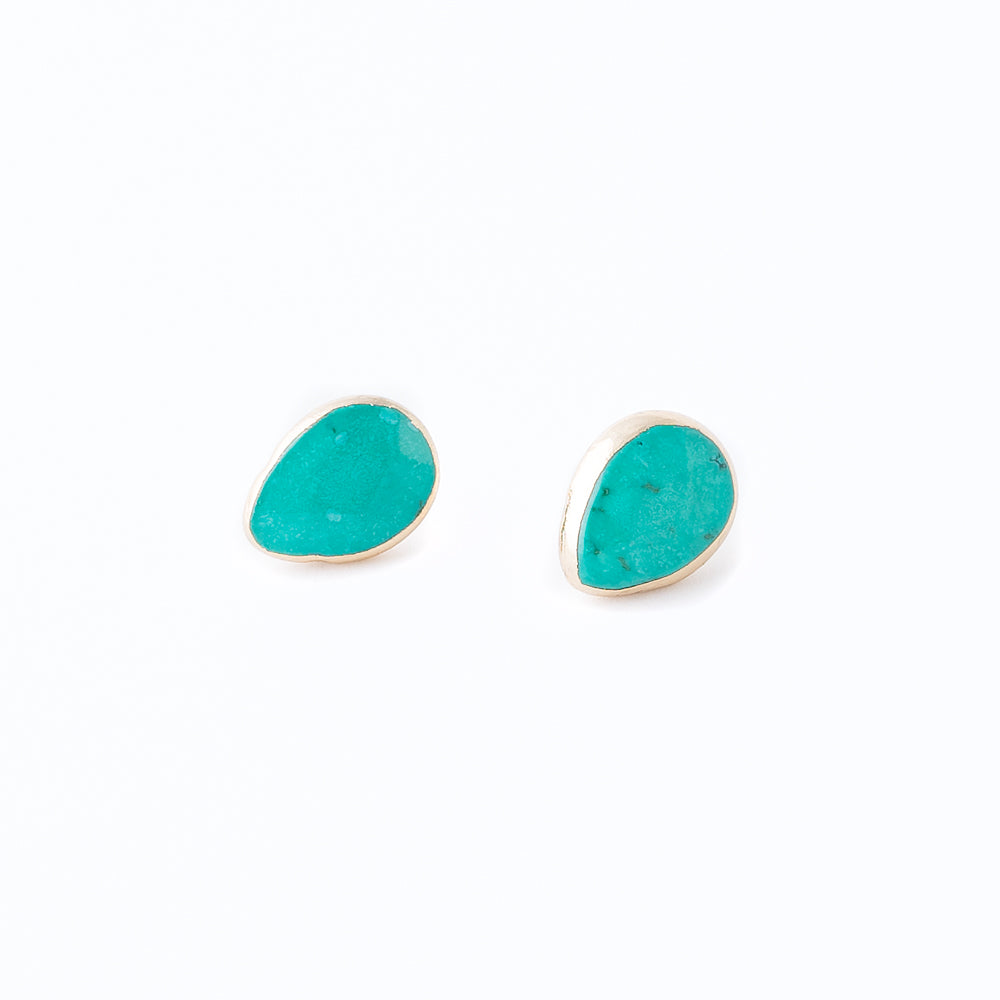 Karlie Stud Earrings | Turquoise Howlite | 18k Gold Plating | Janna Conner | Sale