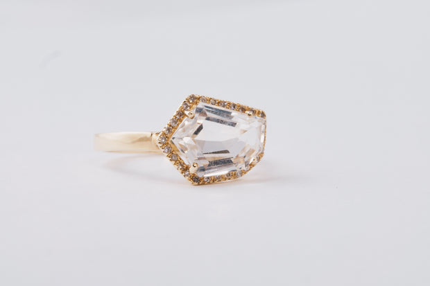 Petite Cubist Ring | White Topaz | 14K Gold | Janna Conner