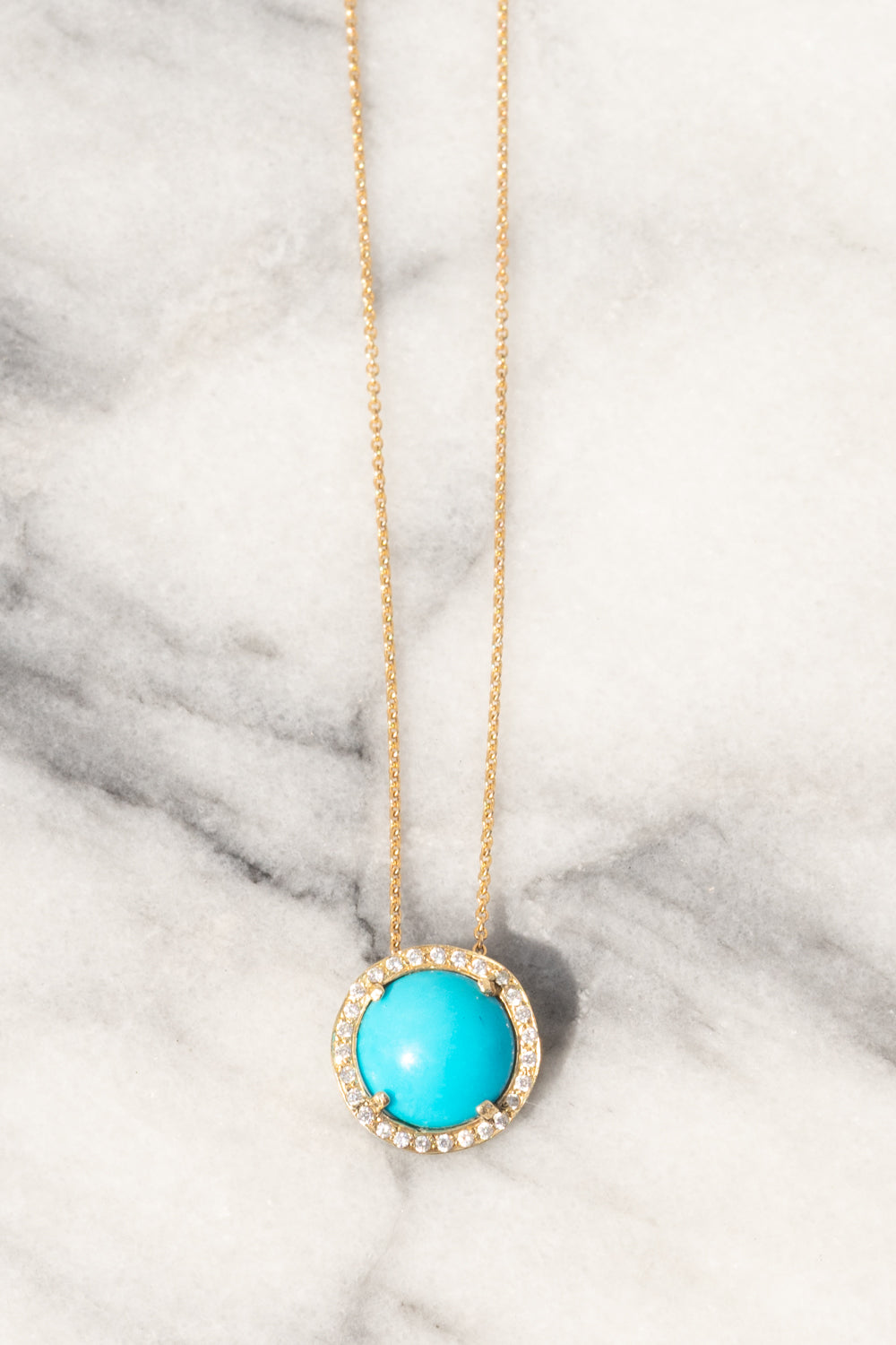 Janna Conner Sleeping Beauty Turquoise Necklace with Diamond Pavé 14K Yellow Gold