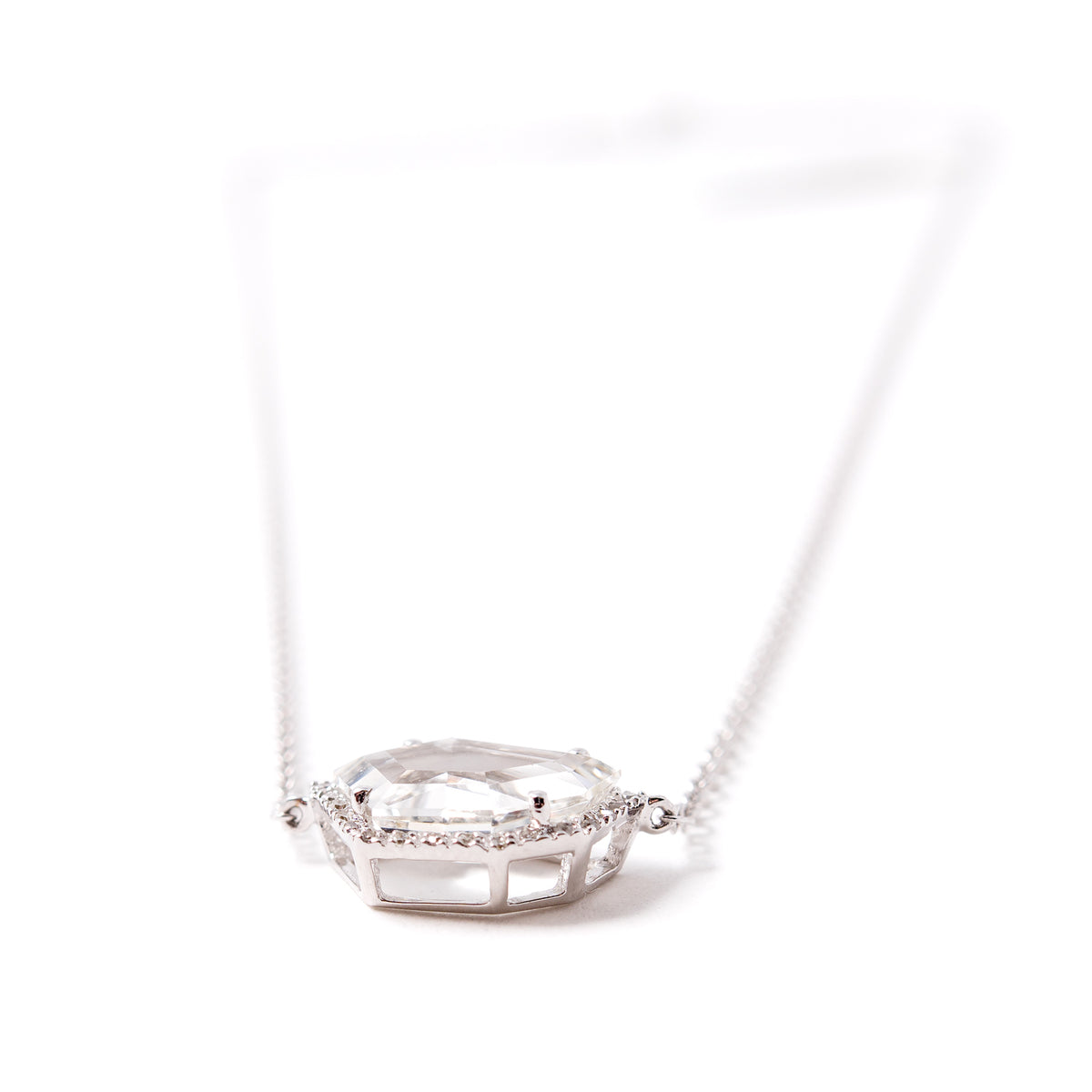 Petite Cubist Necklace in White Topaz | 14K Gold | Janna Conner