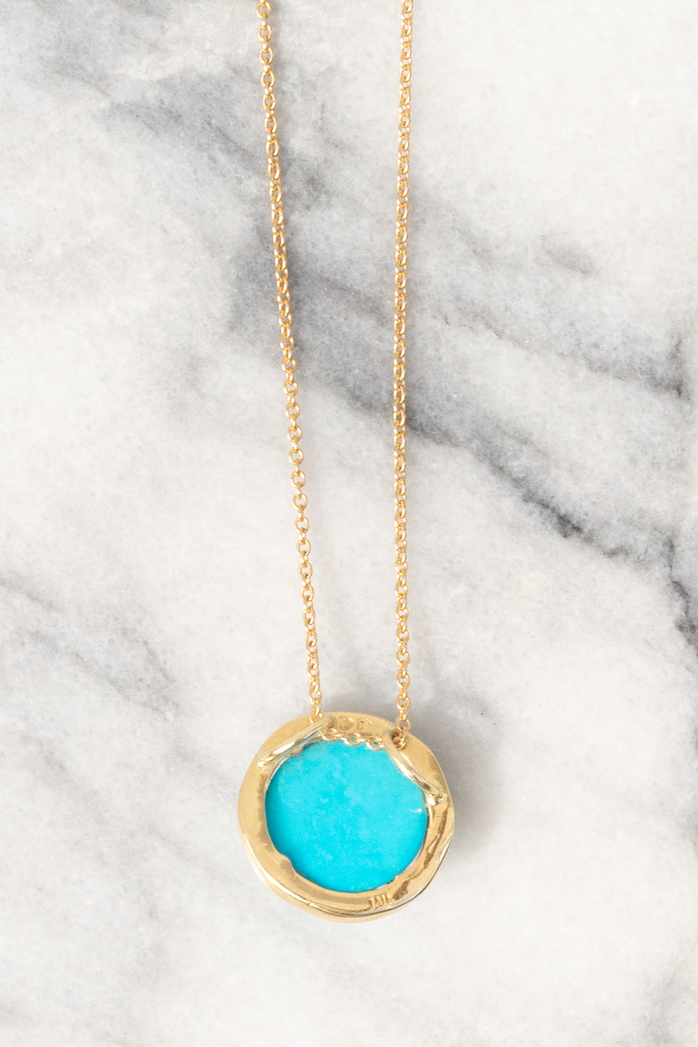 Janna Conner Sleeping Beauty Turquoise Necklace with Diamond Pavé 14K Yellow Gold view from backside