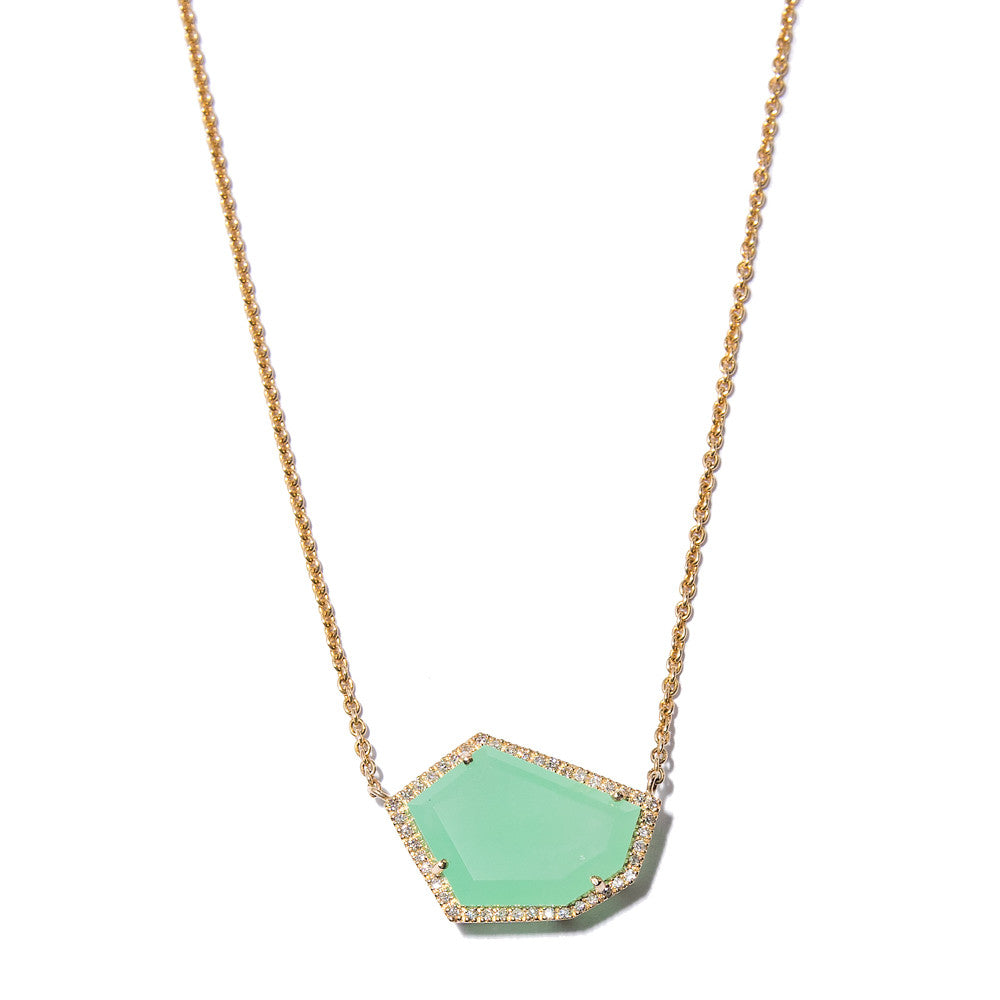Cubist Necklace with Chrysoprase | 14K Gold | Janna Conner