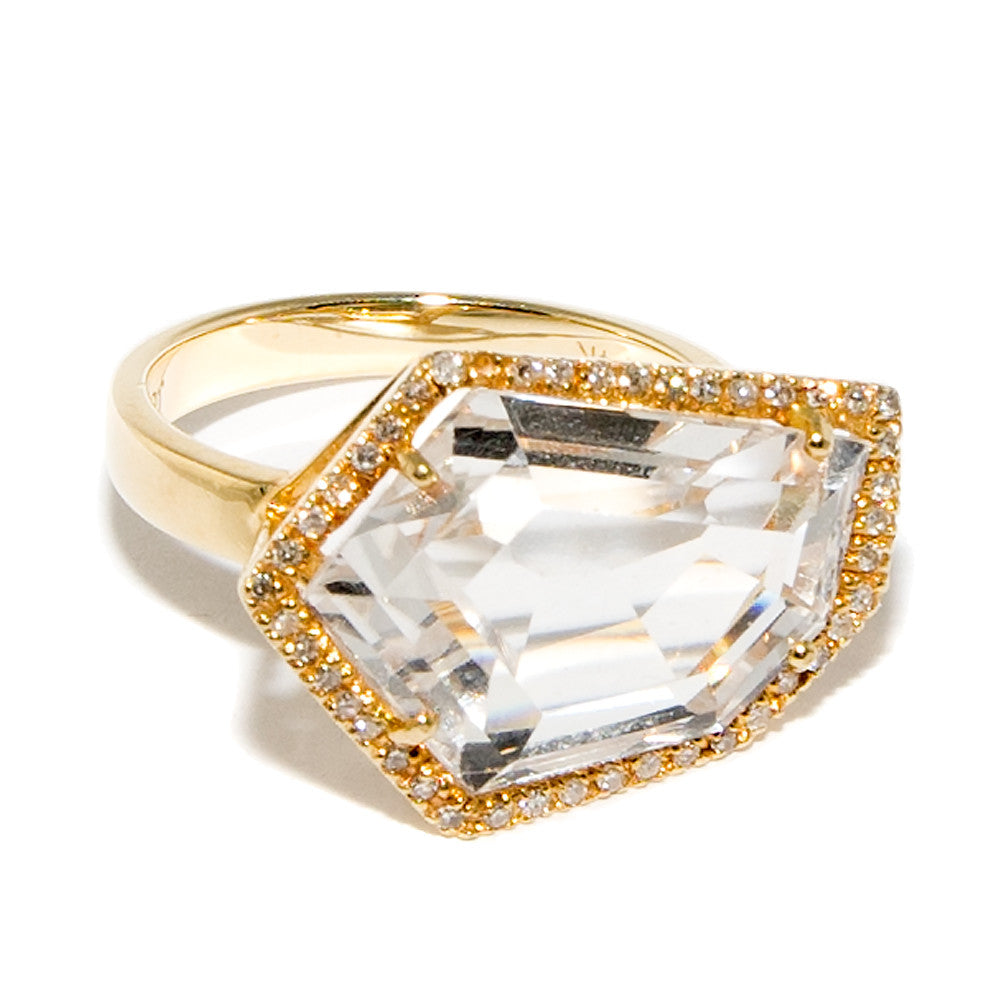 Cubist Cocktail Ring in White Topaz | 14K Gold | Janna Conner